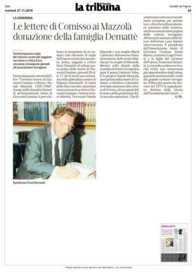 La Tribuna di Treviso (27/11/2018): Le lettere di Comisso ai Mazzola donazione della famiglia Demattè