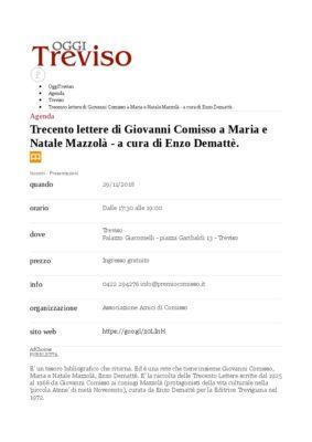 Oggi Treviso (27/11/2018):  Trecento lettere di Giovanni Comisso a Maria e Natale Mazzolà - a cura di Enzo Demattè