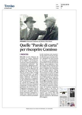 """Quelle """"Parole di carta"""" per riscoprire Comisso (Il Gazzettino, 10/02/2019)"""