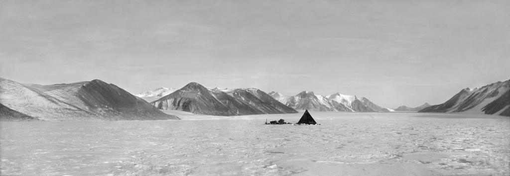 Camp on Ferrar Glacier, c. 1912. Photograph by Robert Scott