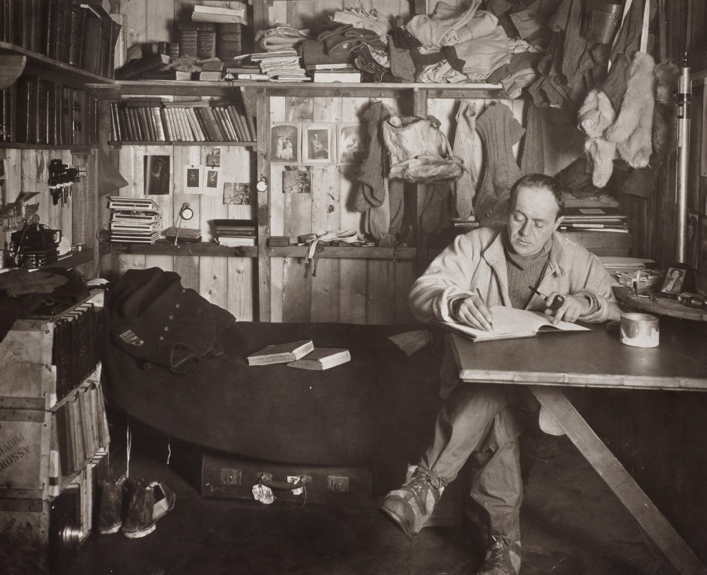 Captain Robert Falcon Scott writing in his diary, Cape Evans hut, 7th October 1911