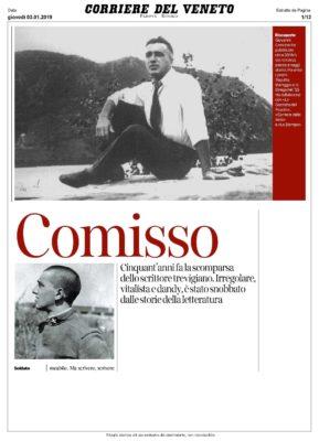 Comisso. Cinquant'anni fa la scomparsa dello scrittore trevigiano (Corriere del Veneto, 03/01/2019)