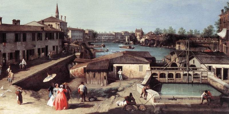Giovanni Antonio Canal, il Canaletto - Dolo sul Brenta, 1730-35 circa, olio su tela, 80×96 cm, Stoccarda (Wikipedia)_00