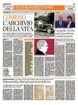 Comisso. L'Archivio della vita (Il Giornale di Vicenza, 19/01/2019)