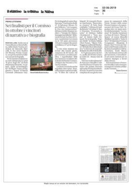 Sei finalisti per il Comisso. In ottobre i vincitori di narrativa e biografia (Il Mattino di Padova - La Tribuna di Treviso - La Nuova Venezia, 02/06/2019)