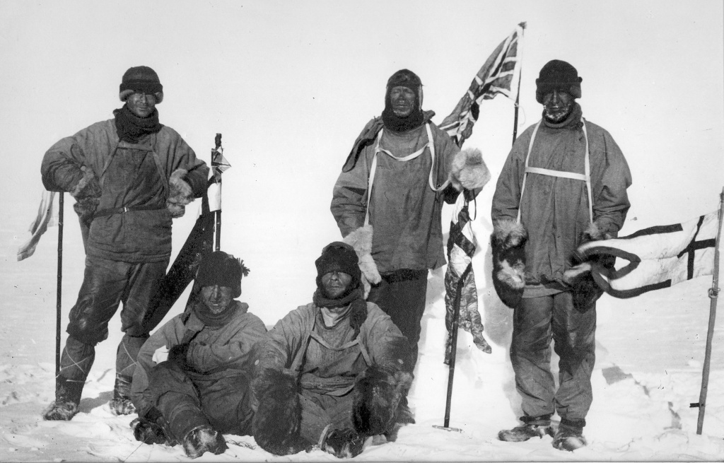 Last expedition of Robert Falcon Scott. The image shows Wilson, Scott and Oates (standing); and Bowers and Evans (sitting)