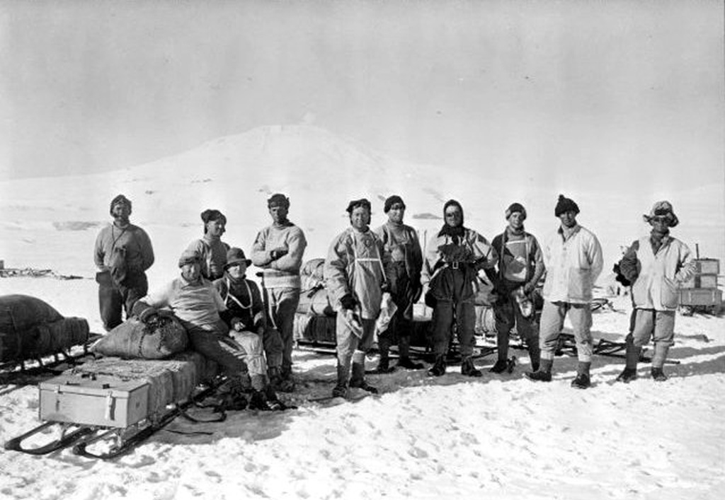 Outdoor group portrait of Captain Scott (sixth from left) and the Southern Party during the British Antarctic (Terra Nova) Expedition (1910-1913)