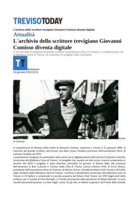 L'archivio dello scrittore trevigiano Giovanni Comisso diventa digitale (Treviso Today, 16/01/2019)
