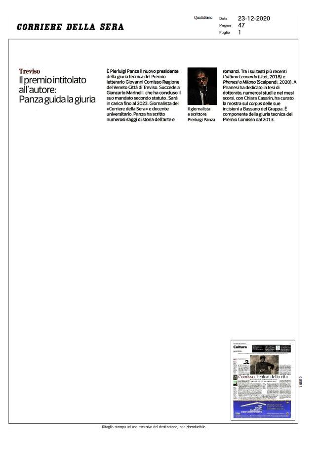 Il Premio intitolato all'autore: Panza guida la giuria (Corriere della Sera, 23/12/2020)