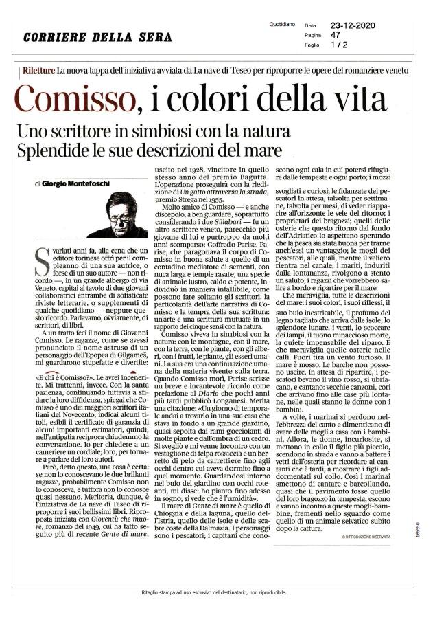 Comisso, i colori della vita (Corriere della Sera, 23/12/2020)