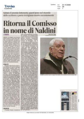 Ritorna il Comisso in nome di Naldini (Il Gazzettino, 01/10/2020)