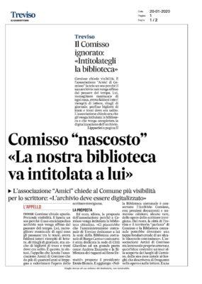 Amici di Giovanni Comisso, Giovanni Comisso, Treviso, Biblioteca, Andrea Zanzotto, Enzo Demattè, Ennio Bianco, Il Gazzettino,