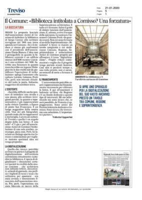 """Il Comune: """"Biblioteca intitolata a Comisso? Una forzatura"""" (Il Gazzettino di Treviso, 21/01/2020)"""