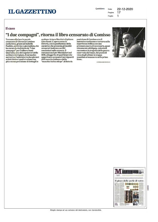 """""""I due compagni"""", ritorna il libro censurato di Comisso (Il Gazzettino, 22/12/2020)"""