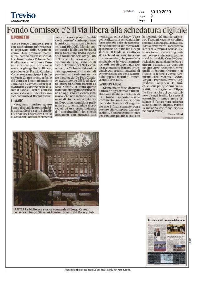Fondo Comisso: c'è il via libera alla schedatura digitale (Il Gazzettino, 30/10/2020)