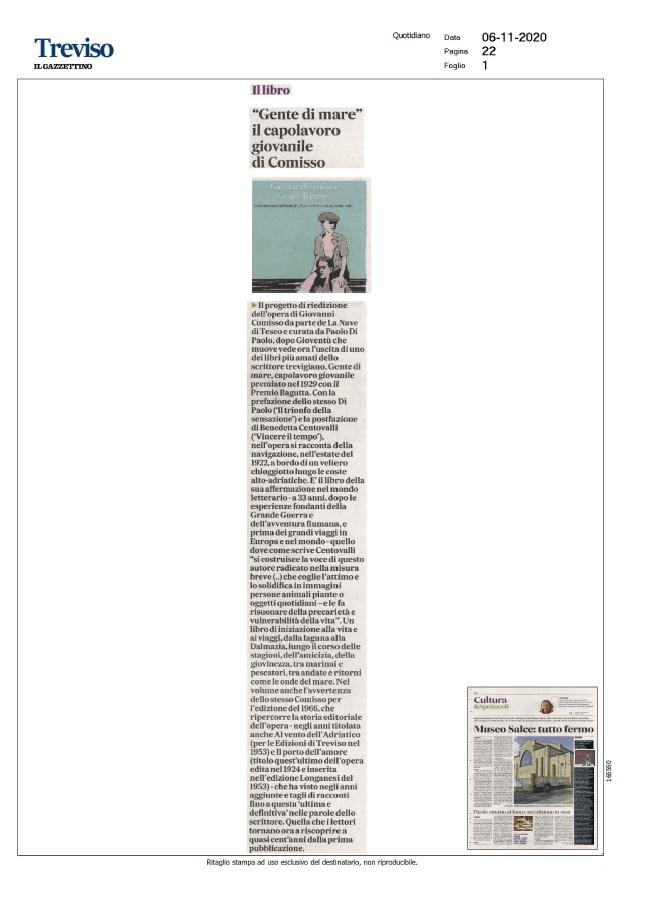 """""""Gente di mare"""" il capolavoro giovanile di Comisso (Il Gazzettino, 06/11/2020)"""