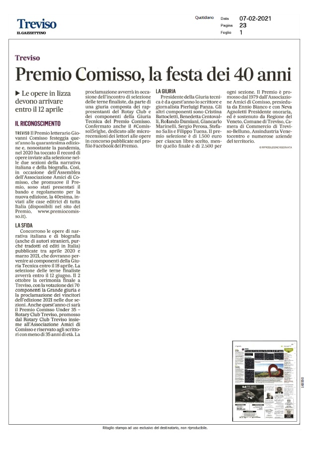 Premio Comisso, la festa dei 40 anni (Il Gazzettino, 07/02/2021)