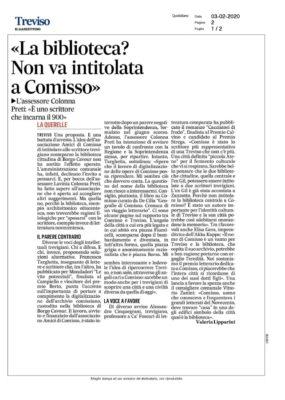 """""""La biblioteca? Non va intitolata a Comisso"""" - La querelle  (Il Gazzettino, 03/02/2020)"""