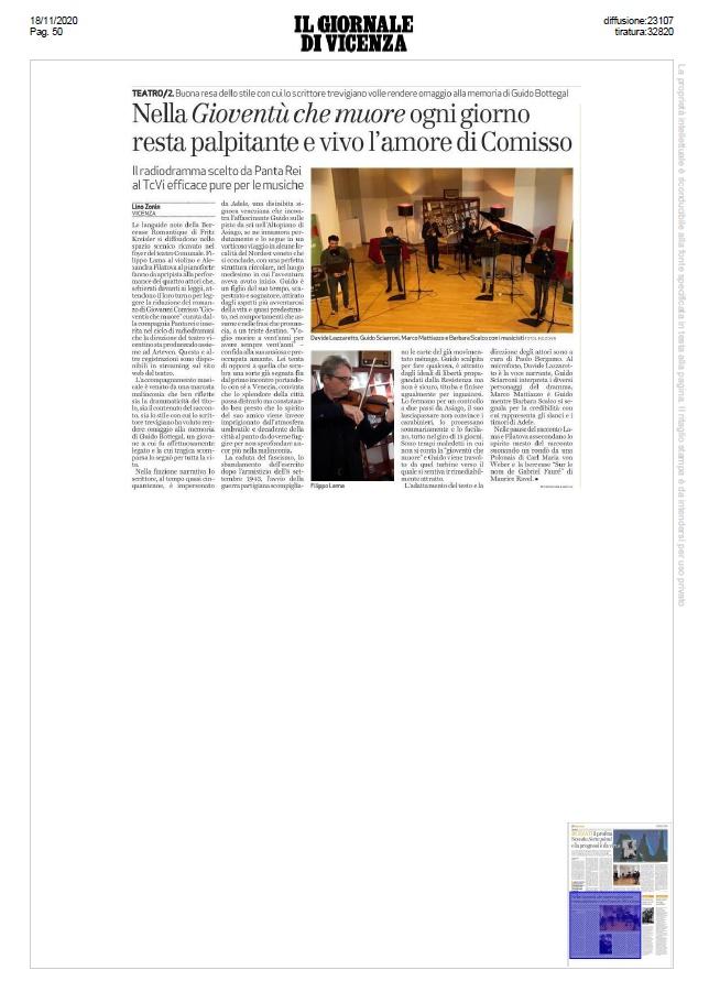"""Nella """"Gioventù che muore"""" ogni giorno resta palpitante e vivo l'amore di Comisso (Il Giornale di Vicenza, 18/11/2020)"""