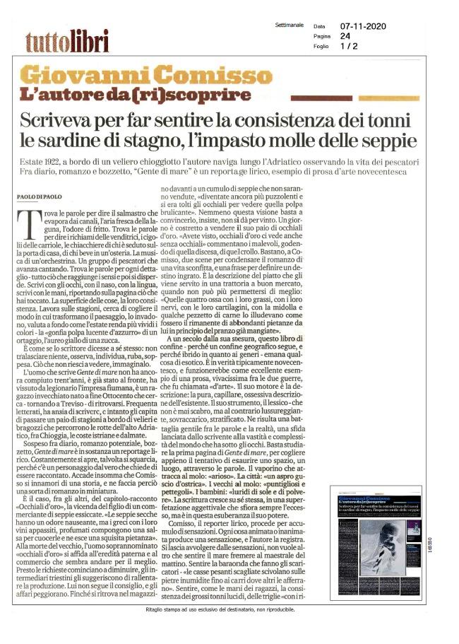 Giovanni Comisso. L'autore da (ri)scoprire (La Stampa - TuttoLibri, 07/11/2020)
