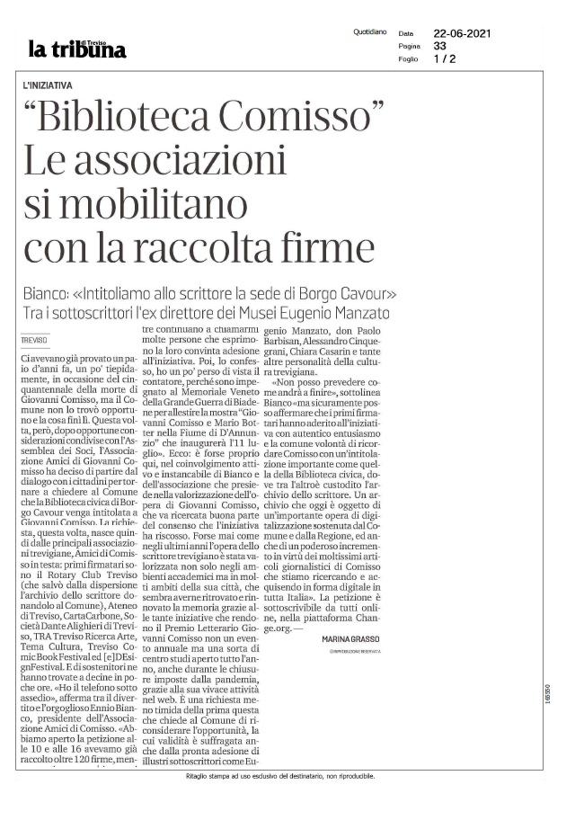 """""""Biblioteca Comisso"""". Le associazioni si mobilitano con la raccolta firme (La Tribuna di Treviso, 22/06/2021)"""