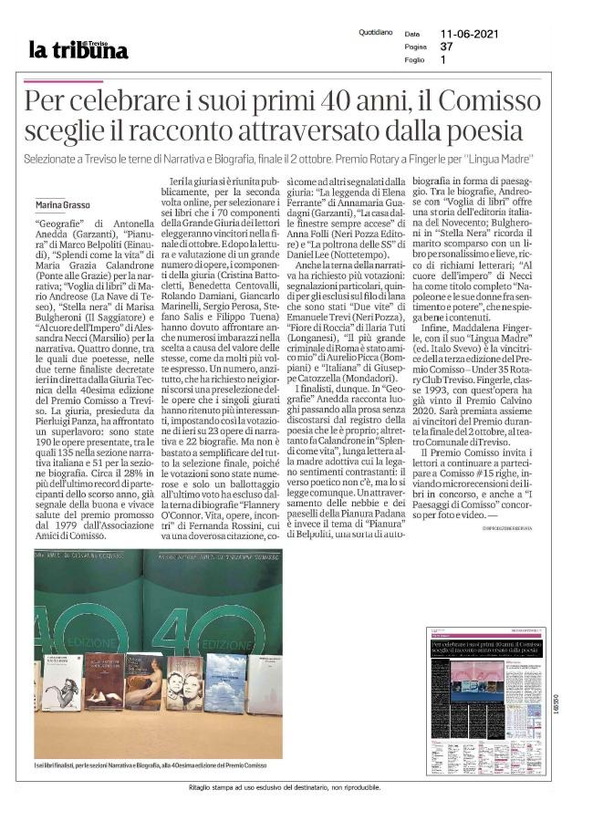 Per celebrare i suoi primi 40 anni, il Comisso sceglie il racconto attraversato dalla poesia (La Tribuna di Treviso, 11/06/2021)
