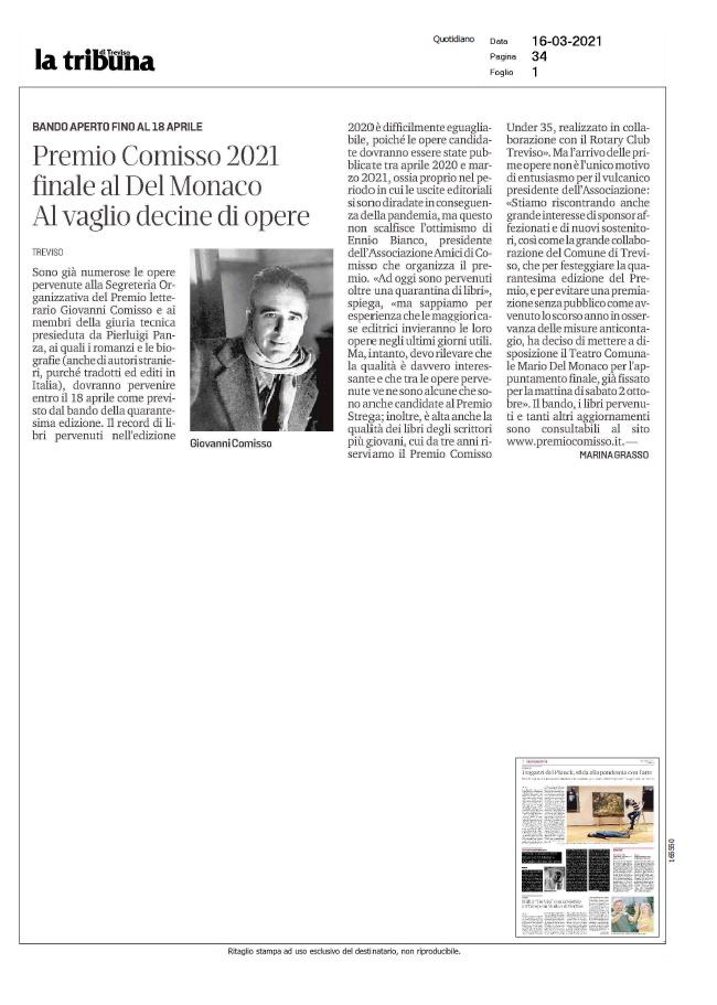 Premio Comisso 2021 finale al Del Monaco. Al vaglio decine di opere (La Tribuna, 16/03/2021)