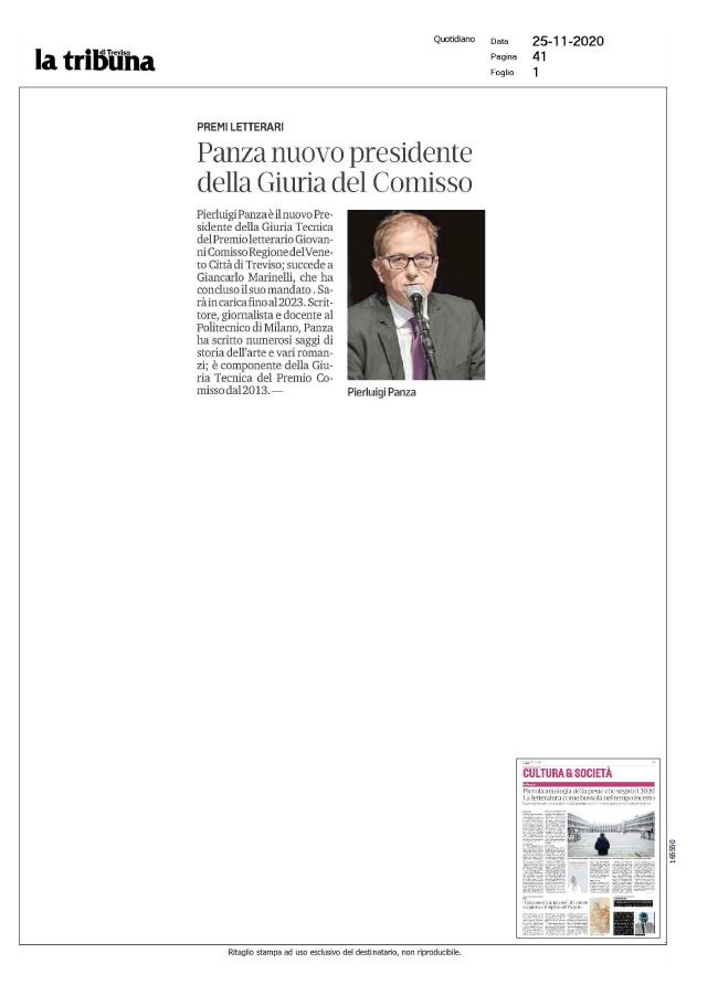 Premi letterari. Panza nuovo presidente della Giuria del Comisso (La Tribuna di Treviso, 25/11/2020)