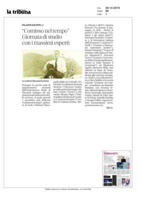 """""""Comisso nel tempo"""". Giornata di studio con i massimi esperti (La Tribuna di Treviso, 5/11/2019)"""