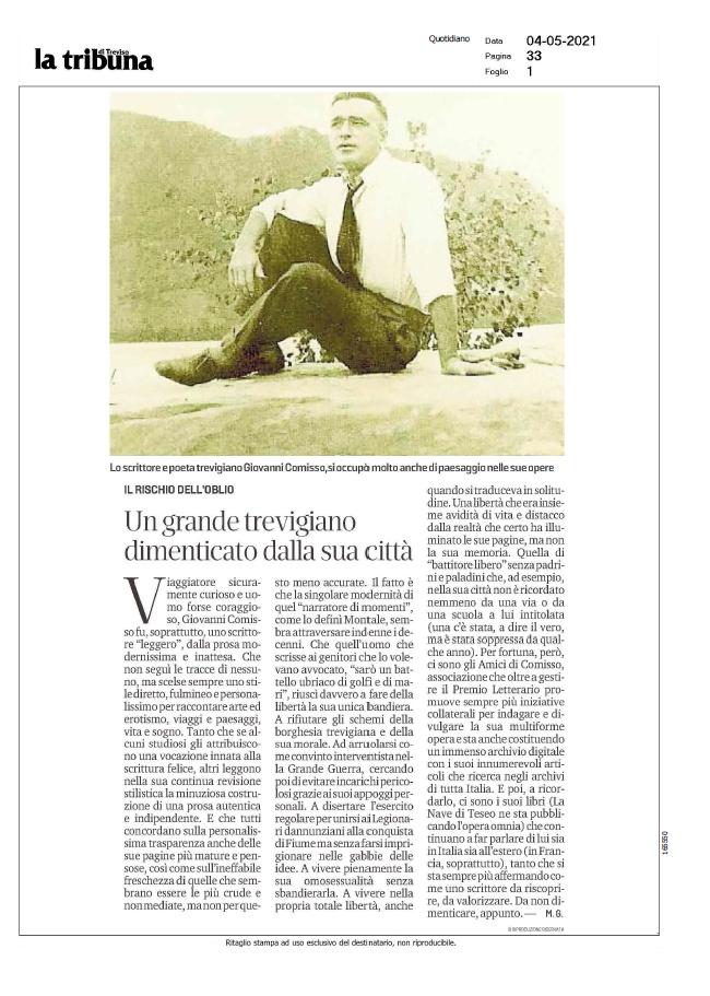 Un grande trevigiano dimenticato dalla sua città (La Tribuna di Treviso, 04/05/2021)