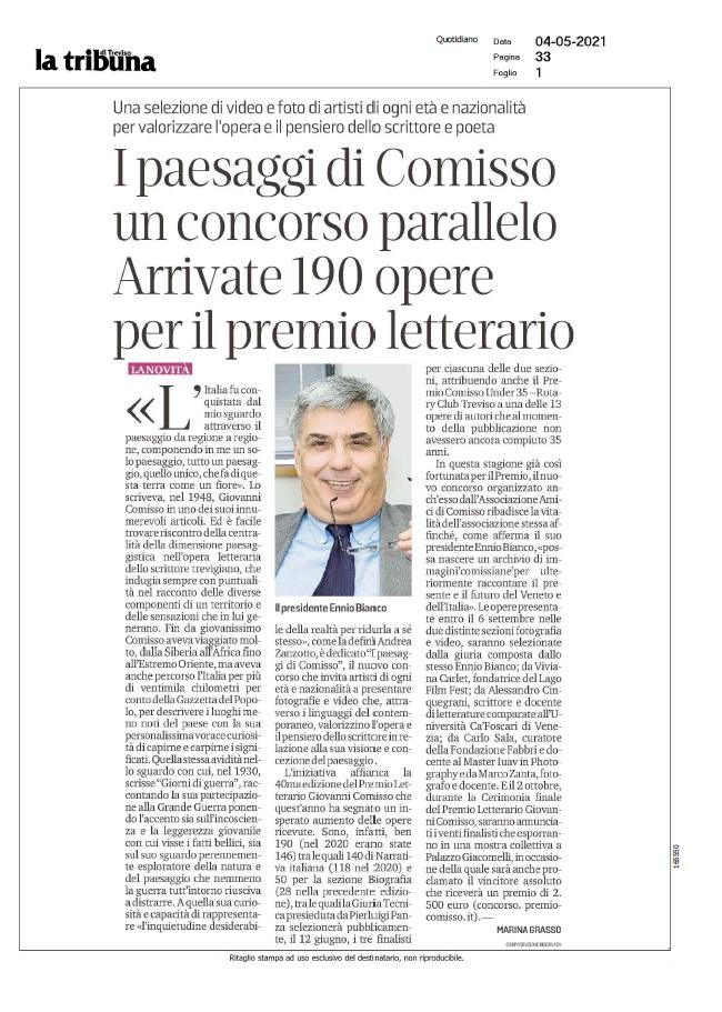 I paesaggi di Comisso un concorso parallelo. Arrivate oltre 190 opere per il premio letterario (La Tribuna di Treviso, 04/05/2021)