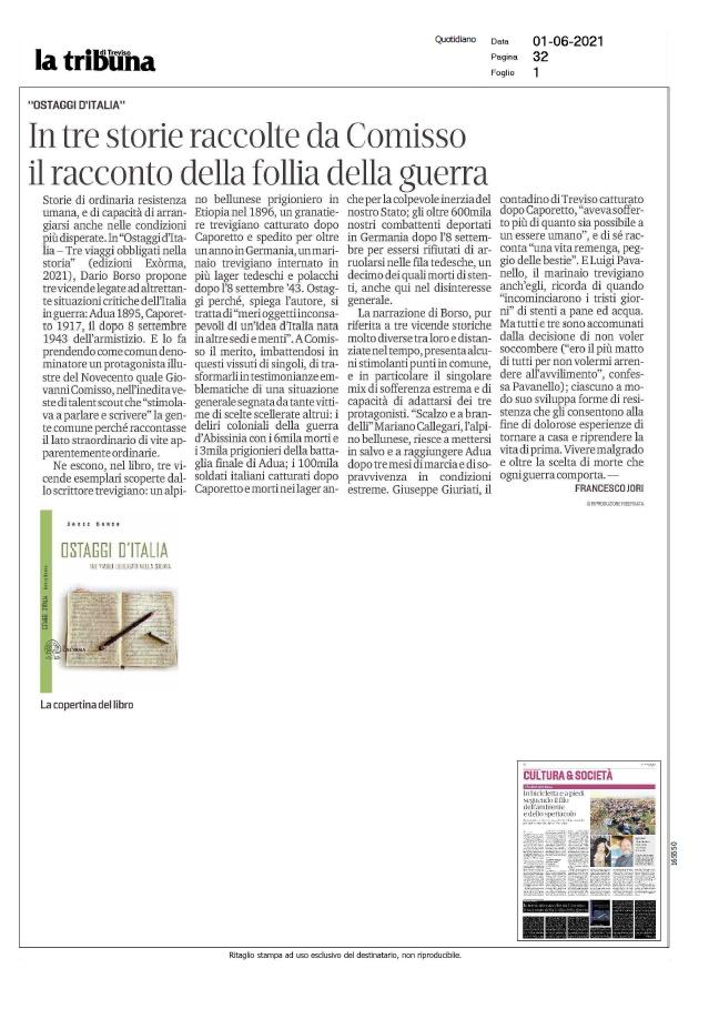 La Tribuna di Treviso, Il Mattino di Padova, La Nuova Venezia, Giovanni Comisso, Francesco Jori,